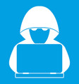 computer hacker with laptop icon white vector image vector image