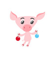 cute cartoon pig with christmas balls isolated on vector image vector image