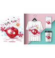 cute heart - mockup for your idea vector image vector image