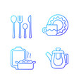 dinner accessories gradient linear icons set vector image vector image