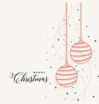 elegant christmas hanging line balls with stars vector image