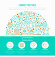 fabric feature concept in half circle vector image vector image