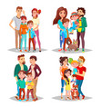 family portrait set parents children in vector image
