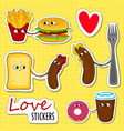 fast food love stickers vector image