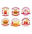 Fast food snack dessert menu signs icons set vector image