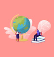female teacher stand with pointer at globe vector image