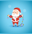 festive christmas funny santa claus holding lamp vector image vector image