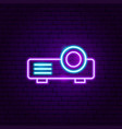 film projector neon label vector image