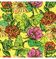 Floral Seamless Pattern with hand drawn flowers on vector image vector image