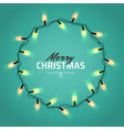 glowing christmas realistic lights wreath for xmas vector image vector image