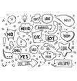 hand drawn speech bubbles with hi hello vector image