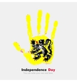 Handprint with the Flag of Flanders in grunge vector image