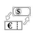 icon of currency dollar and euro exchange vector image vector image