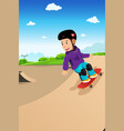 kids playing skateboard vector image