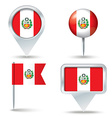 Map pins with flag of Peru vector image vector image