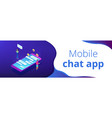 messaging application isometric 3d banner header vector image vector image