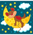 mouse sleeping on the moon in the form of cheese vector image