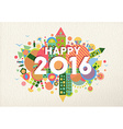 New year 2016 happy greeting card fun colorful vector image