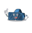 one finger vr virtual reality in mascot cartoon vector image vector image