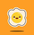 optimistic fried egg kawaii character cute face vector image
