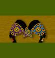 portrait beautiful afro women gemini zodiac vector image