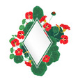rhombus frame with nasturtium on a white vector image