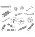 rudder bolt bearing wrench chain vector image vector image