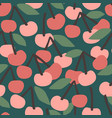seamless pattern with cherry trendy hand vector image vector image