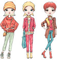 set fashion girl in autumn clothes vector image vector image