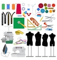 Set of flat sewing elements vector image vector image