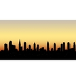 skyline aerial view at sunset with skyscrapers vector image vector image