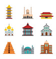 temple tower castle icons set flat style vector image