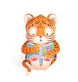 tiger cub reading book cute kids animal cartoon