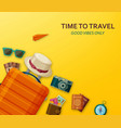 travel concept with suitcase sunglasses hat vector image