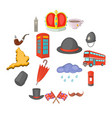 United kingdom travel icons set cartoon style