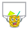 up board pineapple juice garnished with on cartoon vector image vector image