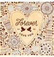 Valentine template greeting card Flowers in heart vector image vector image