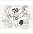 world travel 2020 concept camera and landmarks vector image vector image