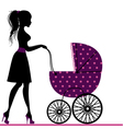 Young mom with a stroller vector image vector image