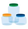 Three Glass Jars Bottles Empty Transparent vector image