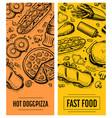 fast food restaurant menu card template set vector image