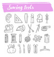 sewing and knitting tools doodle icon set vector image