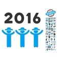 2016 Guys Dance Flat Icon With Bonus vector image