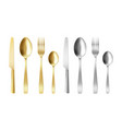3d cutlery golden and silver fork knife and spoon vector image