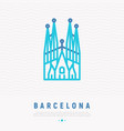 barcelona landmark thin line icon vector image vector image