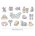 bathing and baby care line icons with editable vector image vector image