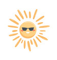 bright yellow sun in glasses with happy face vector image