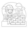 builder coloring page vector image