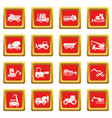 building vehicles icons set red vector image vector image