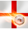 Burning football on England flag background vector image vector image